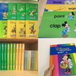 「ディズニー英語システム(DWE)」ストレートプレイDVD、シングアロング、トークアロングカード、ブックの各教材の写真