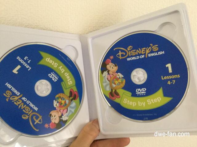 「ディズニー英語システム(DWE)」ステップバイステップ」DVDのパッケージに各2まいはいっている様子