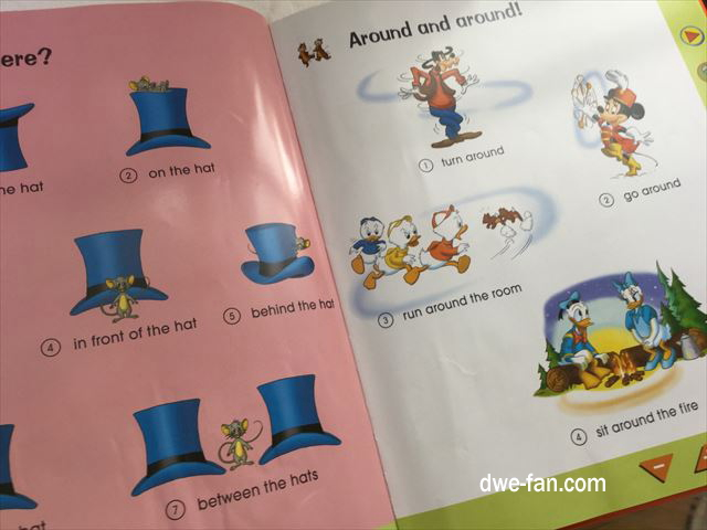 ディズニー英語システム(DWE)「Fun with Words」のとある1ページ、単語ではなく語彙まで載っている様子