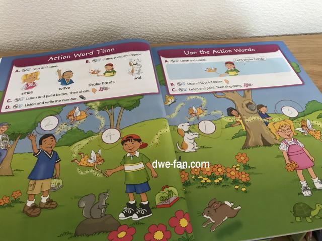 英語の教科書「Magic Time 1」(2/E)Student Book、色々な動作を英語で言うページ
