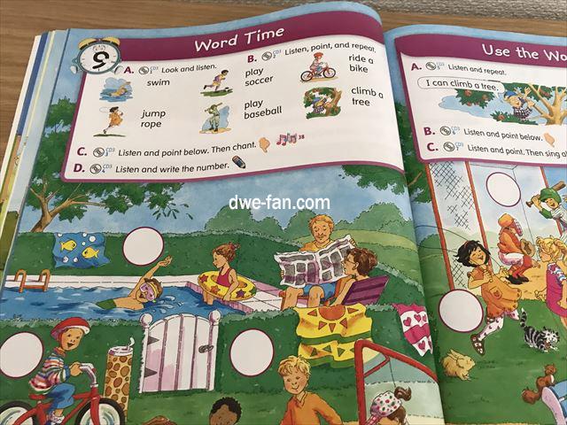 英語の教科書「Magic Time 1」(2/E)Student Book、色々な遊びを英語で言うページ