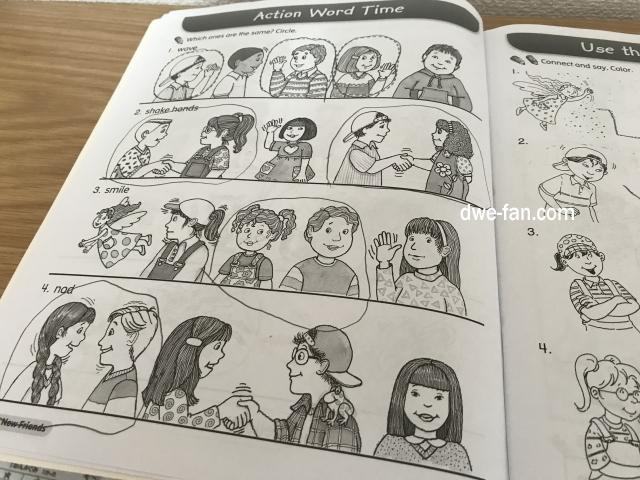英語の教科書「Magic Time 1」(2/E)Work Book、色々な動作を見ながら合っている動作に〇をするページ