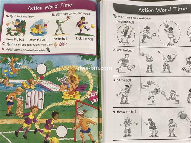 英語の教科書「Magic Time 1」(2/E)の「Student Book」と「Work Book」の内容があっている1ページ